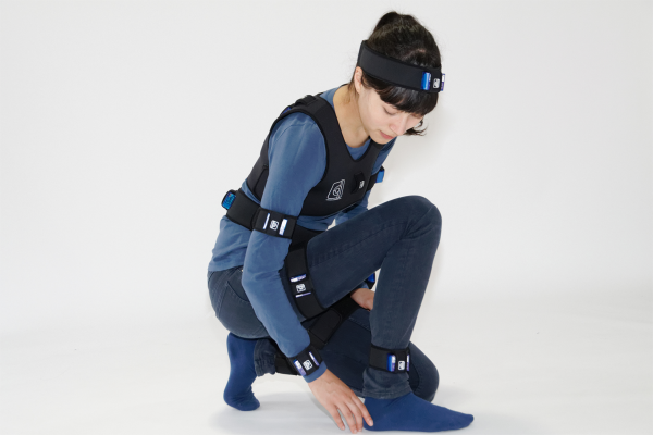Naho wearing LPMS-B motion capture suit